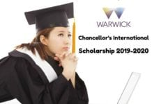 Chancellor's International Scholarship 2019-2020