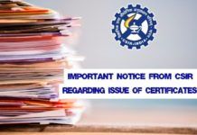 Important Notice From CSIR Regarding Issue of Certificates