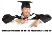 Ramalingaswami Re-entry Fellowship 2018-19