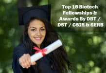 Top 16 Biotech Fellowships & Awards By DBT / DST / CSIR & SERB