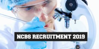 NCBS-TIFR Latest Jobs 2019