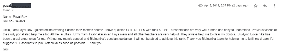 Payal Roy, CSIR NET December 2018 topper with Lecturership Rank 60