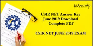CSIR NET Answer Key June 2019 Download Complete PDF