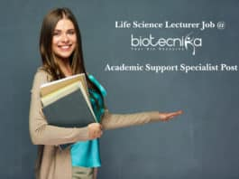 Life Science Academic Support Specialist - Lecturer Job @ Biotecnika Bangalore