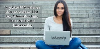 Top Msc Life Science Entrance Exam List For Admission Into State & Private Universities