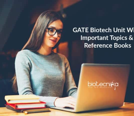 GATE Biotech Unit Wise Important Topics & Reference Books