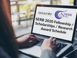 SERB 2020 Fellowships List