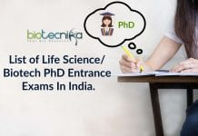 Life science PhD Entrance
