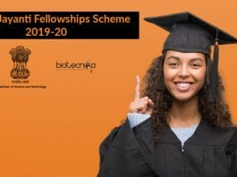 SwarnaJayanti Fellowships Scheme 2019-20