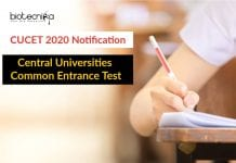 CUCET 2020 Notification - Central Universities Common Entrance Test