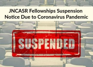 JNCASR Fellowships Suspension Notice