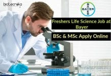 Freshers Bayer Life Science