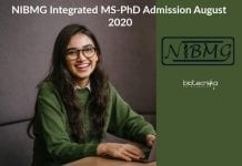 NIBMG Integrated MS-PhD Admission
