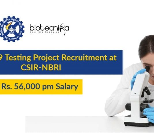 CSIR-NBRI Project Scientist Jobs