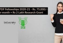 ICAR PDF Fellowships 2020-21
