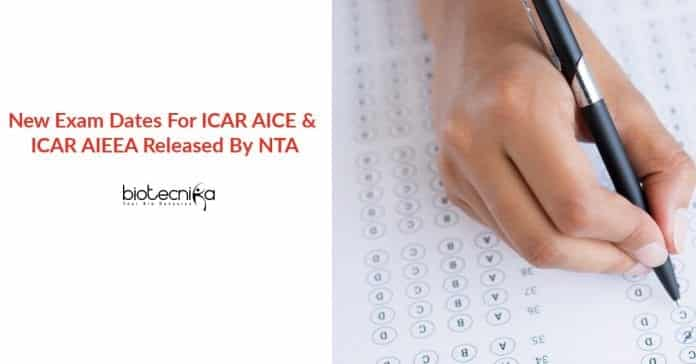 ICAR Exam Dates 2020