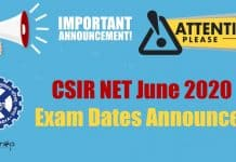CSIR-NET June 2020 Dates