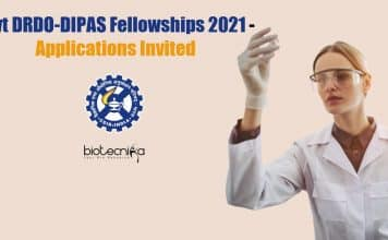 DRDO-DIPAS Fellowships 2021