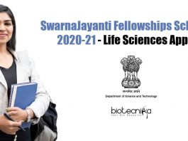 SwarnaJayanti Fellowships Scheme 2020-21
